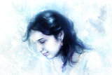 young woman and a dove, in twinkling starlight immersed, frozen