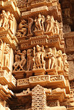 Famous erotic human sculptures at temple, Khajuraho, India