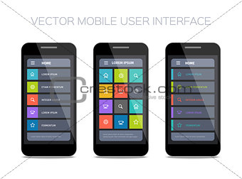 3 vector mobile user interface designs