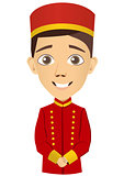 Young bellhop waiting for the client