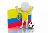 3d white people with Ecuador flag and soccer ball.