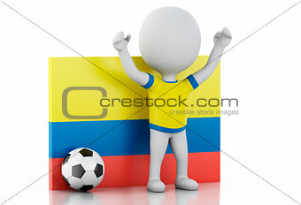 3d white people with Colombia flag and soccer ball.