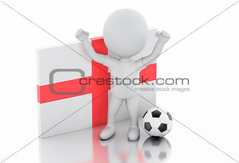 3d white people with England flag and soccer ball.