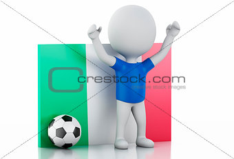 3d white people with Italy flag and soccer ball.