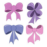 Hand-drawing cute bows vector