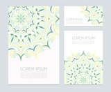 Business cards with hand drawn  floral ornaments