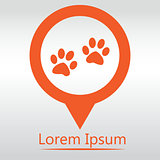 Paw sign icon. Dog pets steps symbol. icon map pin