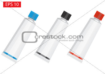 Three Tube Of Toothpaste, Cream Or Gel - black, blue and red. Ready For Your Design. Product Packing Vector EPS10