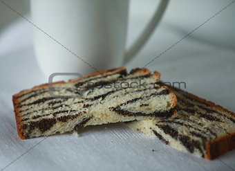slices of cake with poppy seeds