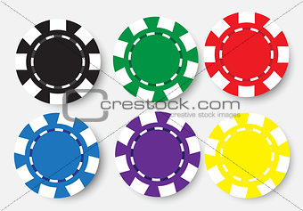 six poker chips isolated on white background