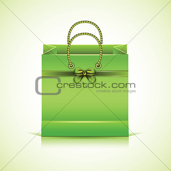 Green paper shopping bag.