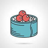 Sushi with caviar flat vector icon