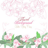 White floral Background with pink pansies