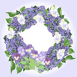 Wreath with  lilac and  pansies