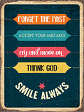 "Retro metal sign ""smile always"","