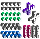 disco music party cubic square fonts in different colors