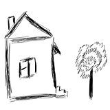 Cute little house sketch vector