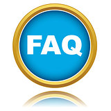 Blue faq vector icon