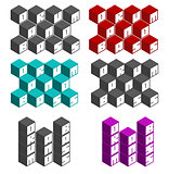 drum and bass cubic square fonts in different colors