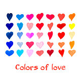 Watercolor hearts set. Vector background.