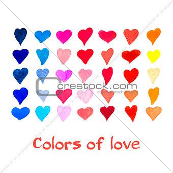 Watercolor hearts set. Vector background.