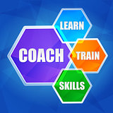 coach, learn, train, skills in hexagons, flat design