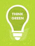think green in bulb symbol with leaf sign over green grunge back