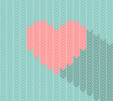 Flat heart icon in herringbone pattern