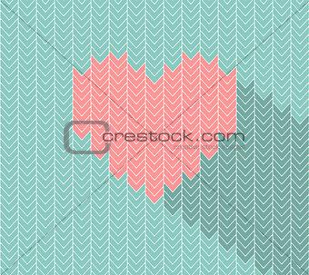 Flat heart icon in herringbone pattern