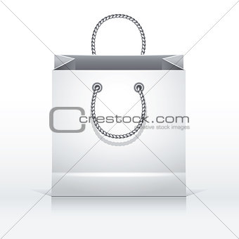 Gray paper shopping bag.