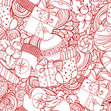 Winter collection icons vintage seamless pattern.