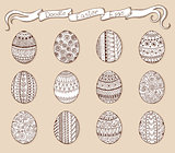 Ink hand-drawn doodle vector Easter set with eggs.