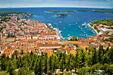 Aerial view of Hvar rooftops and harbor