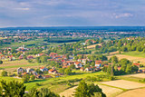 Town of Koprivnica and Podravina nature aerail view