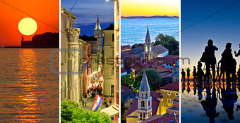 Town of Zadar evening and sunset travel collage