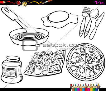 food objects set coloring page
