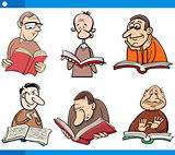 readers characters set cartoon