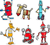 robots cartoon illustration set