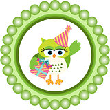 Birthday owl round label