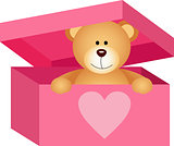 Teddy bear in pink box