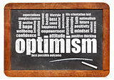 optimism word cloud on blackboard