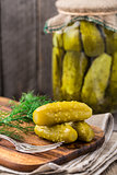 Pickles on a wooden  board