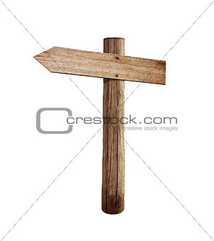 old wood left arrow road arrow sign isolated