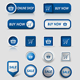 Collection web blue buttons and pointers for shopping