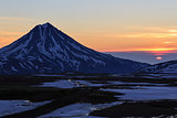 Beautiful volcanic landscape: sunrise over Viluchinsky Volcano. Kamchatka