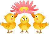Three little chicks with flower