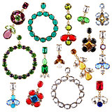 beautiful colorful crystal earrings collection isolated on white