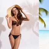 happy girl with bikini