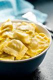 cooked ravioli in bowl