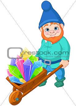 Gnome with Quartz crystals
